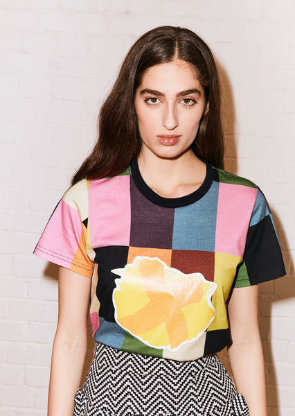 Patchwork Print Cross Patch Tshirt