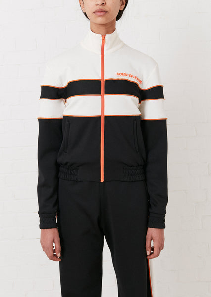 'Missy' Contrast Panelled Track Top (Black & White)