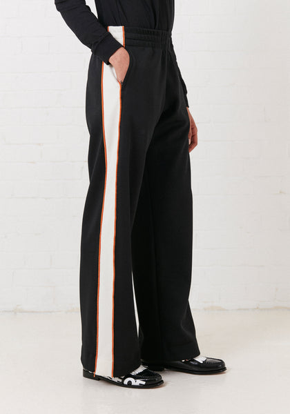'Missy' Contrast Panelled Track Pant (Black & White)