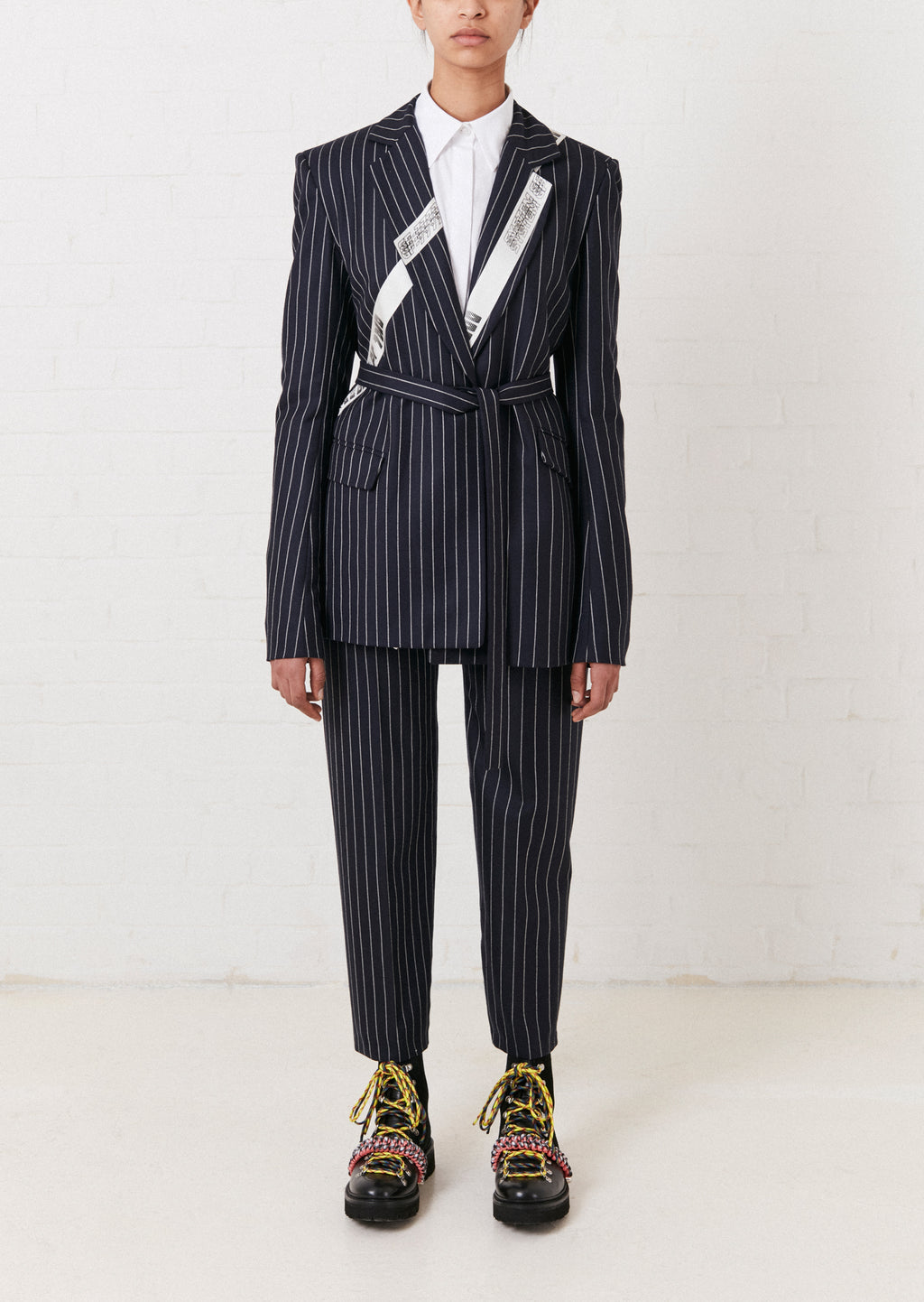 Navy Pinstripe Tailored Wool Trouser by House of Holland