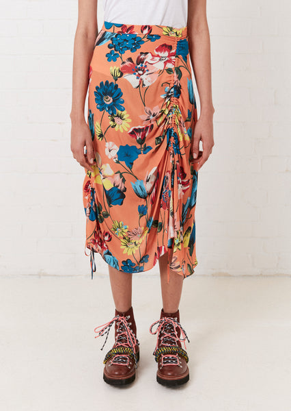 Orange Floral Rouched Midi Skirt