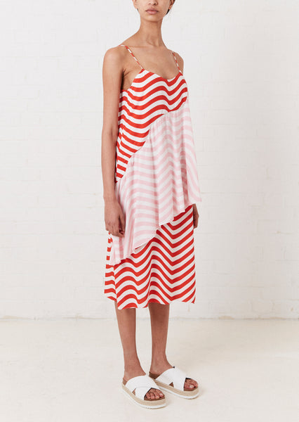 RED AND PINK WAVE SLIP DRESS