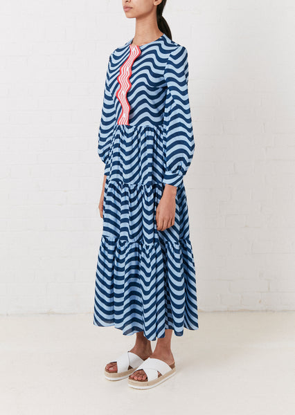 WAVY TRIM TIERED DRESS