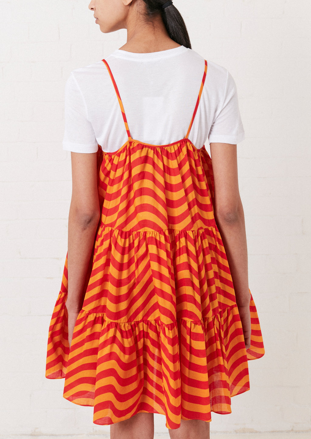 TIERED WAVY FLARED DRESS