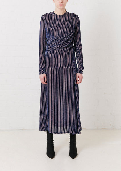 Navy Striped Devore Velvet 'Twist' Dress