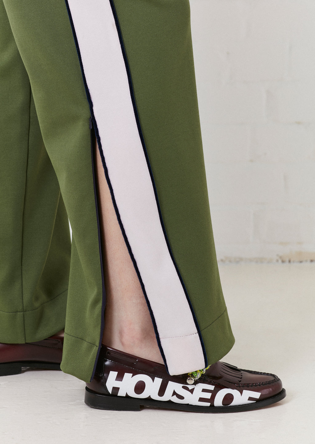 'Missy' Contrast Panelled Track Pant (Pink & Olive Green) | House of Holland