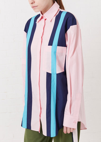 Pink Oversized Panelled Stripe Shirt