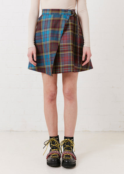 Tartan Wool Mini Wrap Skirt