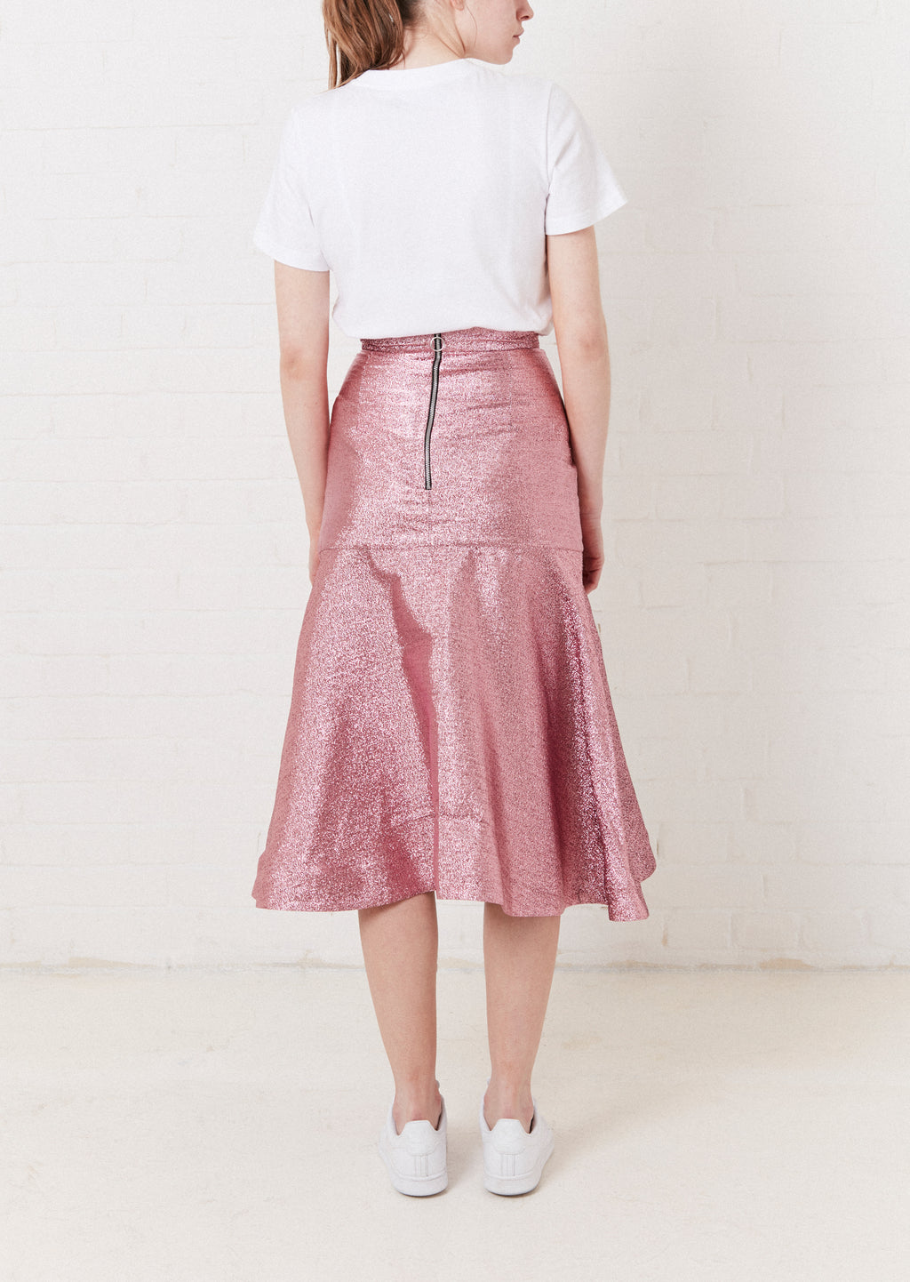 Metallic Pink Flare Midi Skirt