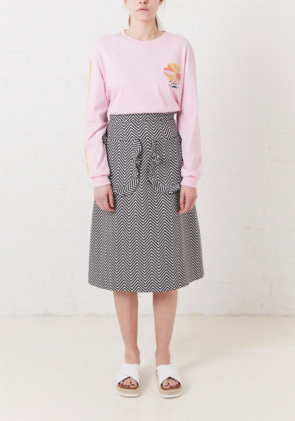 Frill Pocket Jacquard Midi Skirt