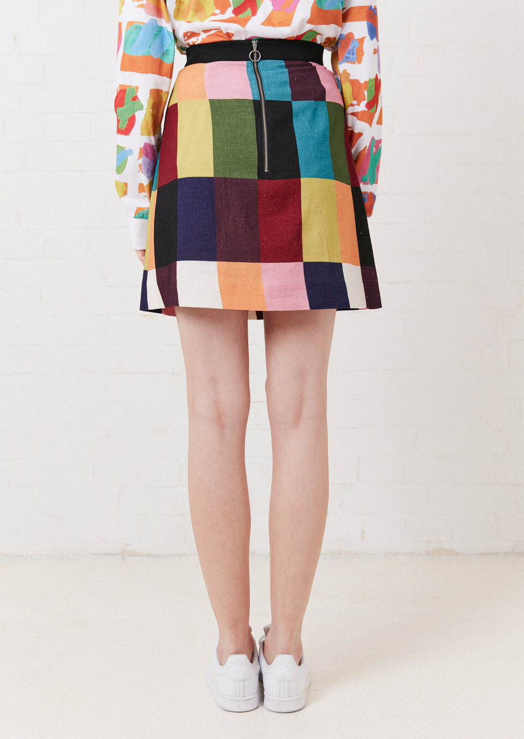 PATCHWORK A LINE SKIRT