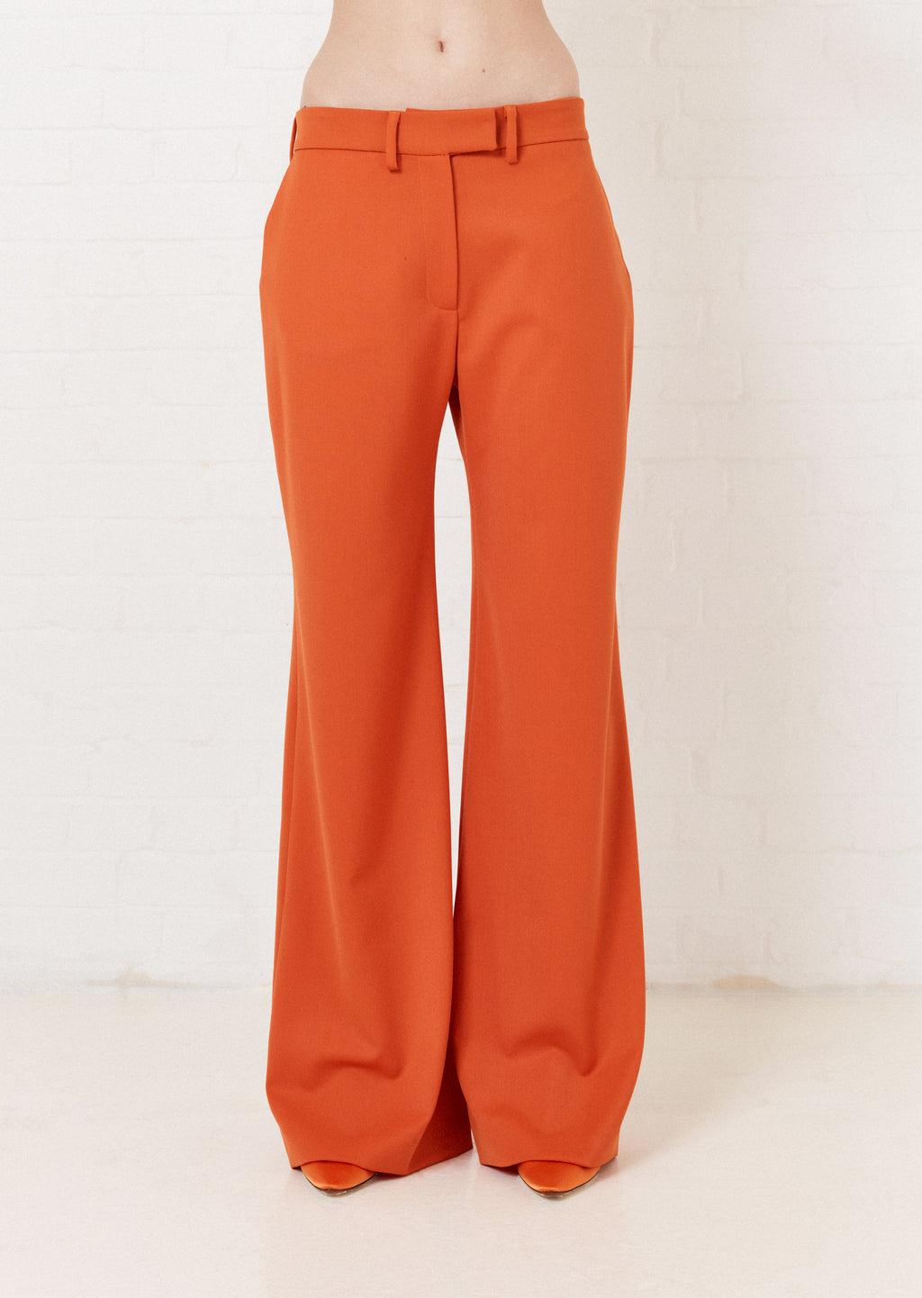 Pantalon orange à jambes larges