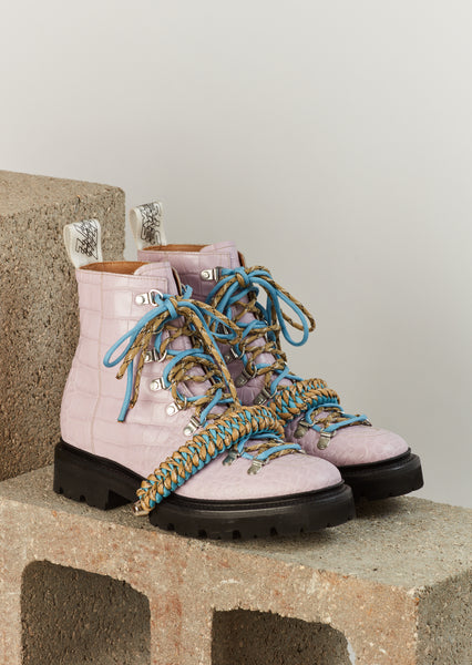 House of Holland x Grenson Hiking Boot (Lilac Crocodile)