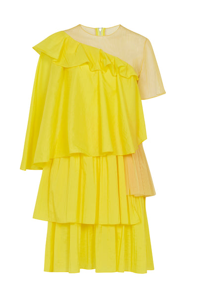 Yellow Ripstop Frill Dress