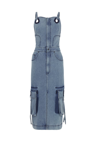 Utility Denim Midi Dress