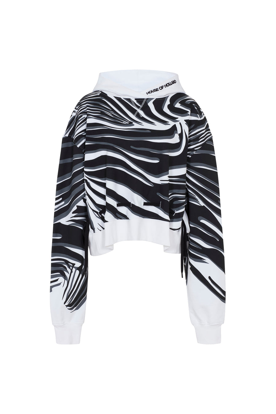 White Wave Print Two-Way Hoodie by House of Holland