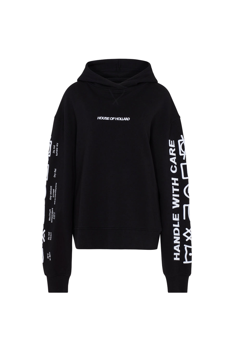 'Handle With Care Oversized' Black Hoodie by House of Holland