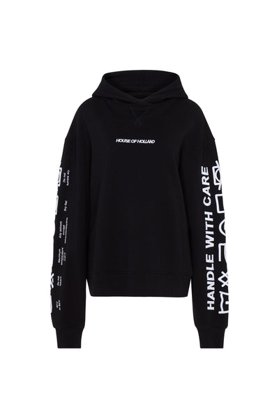 'Handle With Care Oversized' Black Hoodie