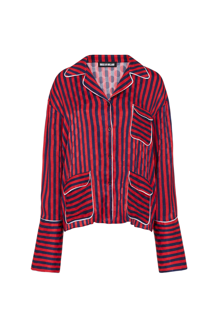 Red and Navy Stripped Pyjama Style Shirt by House of Holland