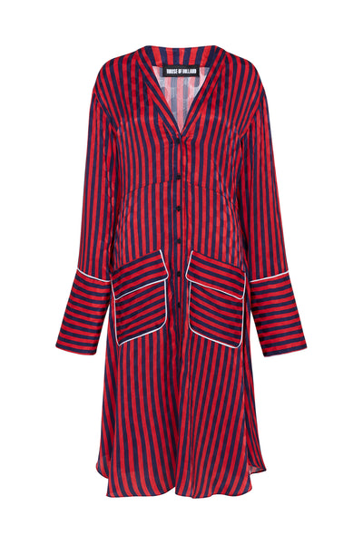 Polka Dot Jacquard A-Line Pyjama Shirt Dress (Red & Navy Stripe)