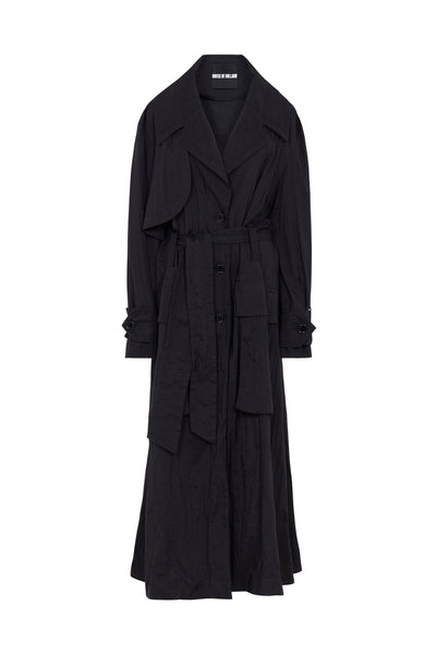 Oversized 'Handle With Care' Black Ripstop Trench Coat