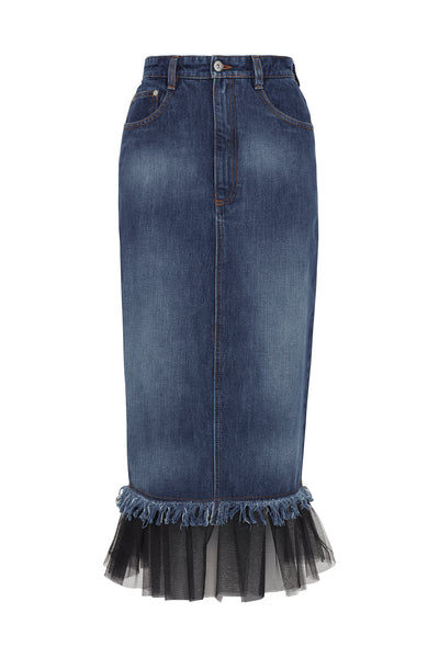 Gathered Tulle Denim Skirt