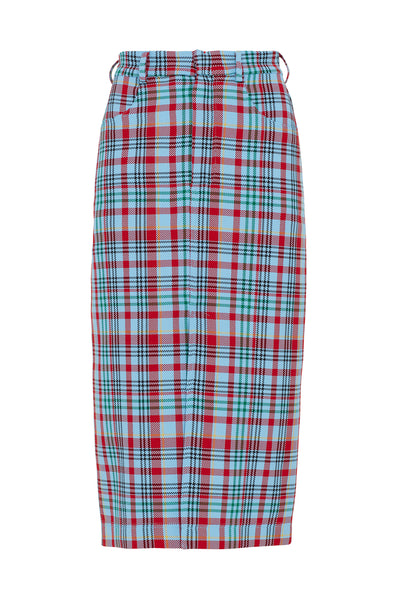 Blue Tartan Pencil Skirt