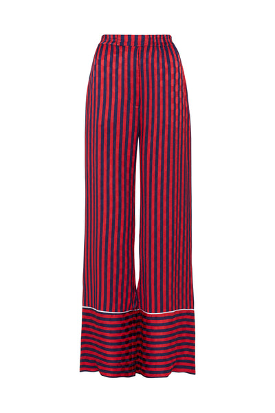 Red & Navy Stripe Pyjama Style Trousers
