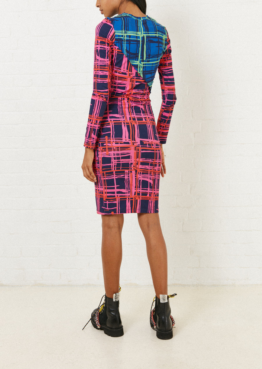 Contrast Panelled Twist Midi Dress (Navy Blue)