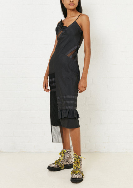 Black Ripstop Slip Dress