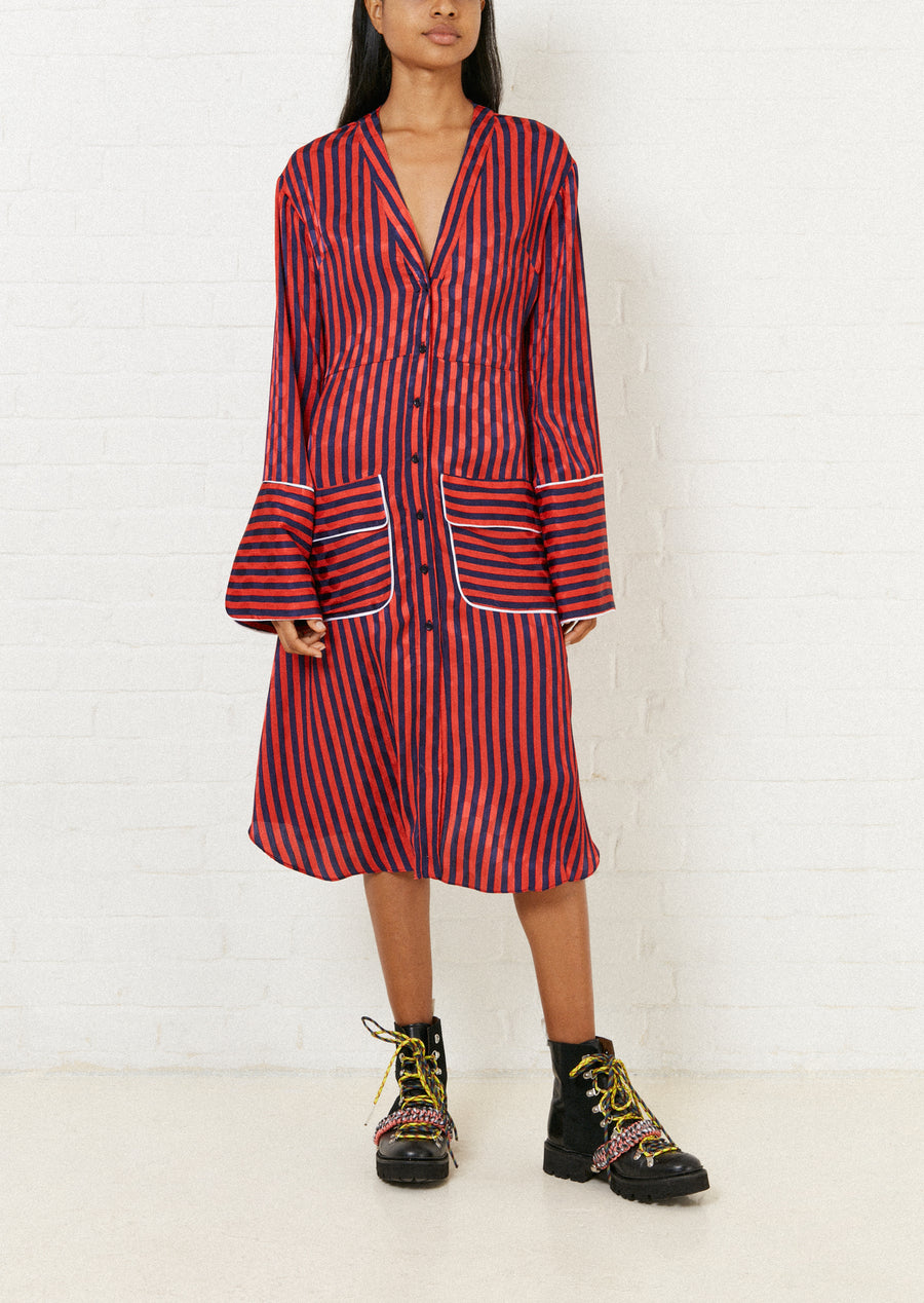 Red and Navy Stripped Pyjama Style Dress by House of Holland