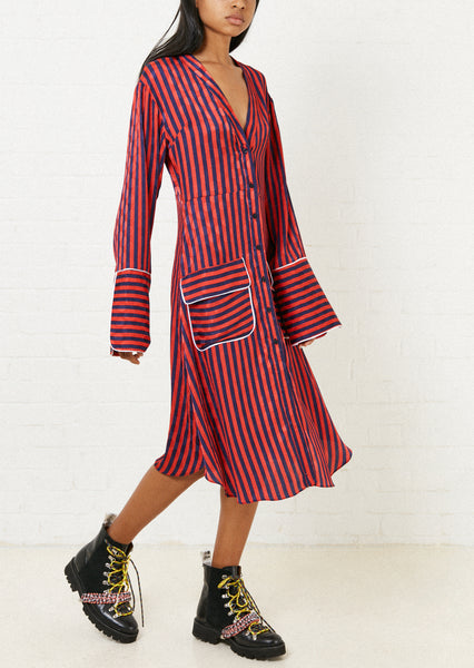A-Line Pyjama Shirt Dress (Red & Navy Stripe)