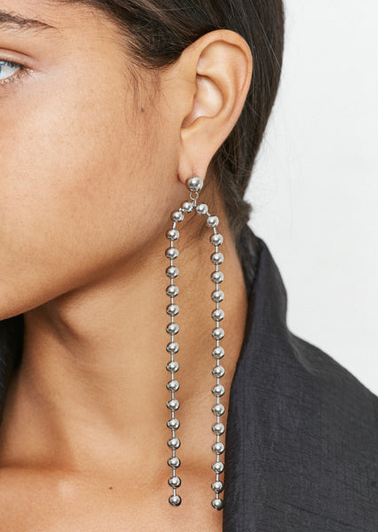 Silver Ball Chain Drop Earrings