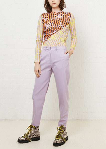 Contrast Panelled Floral Twist Top (Lilac & Brown)