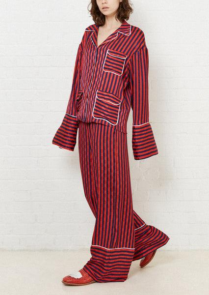 Red & Navy Oversized Stripe Pyjama Style Shirt