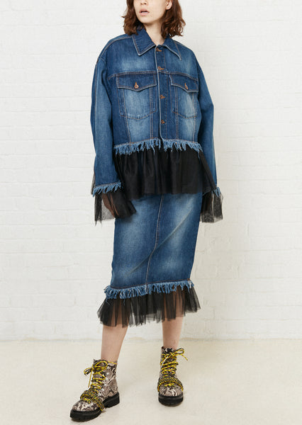 Gathered Tulle Denim Jacket