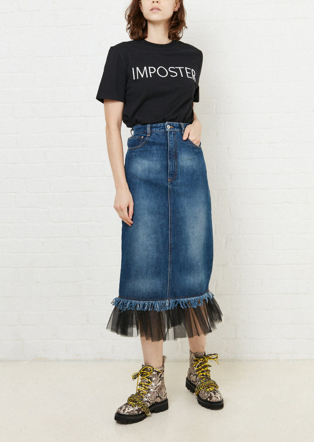 Gathered Tulle Denim Skirt by House of Holland