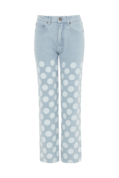 Light Blue White Spot Denim Jeans