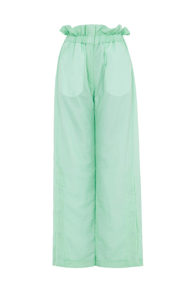 Paperbag Waist Ripstop Trousers (Mint Green)