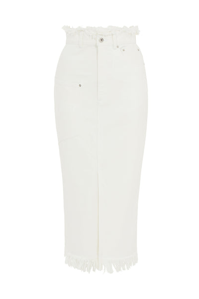 White Denim Midi Skirt