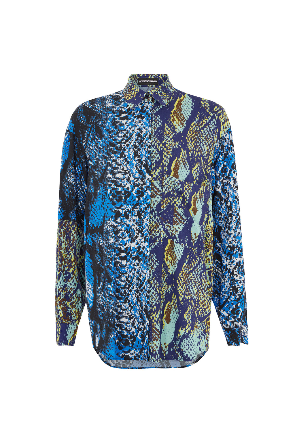 Asymmetric Double Snake Print Viscose Shirt by House of Holland