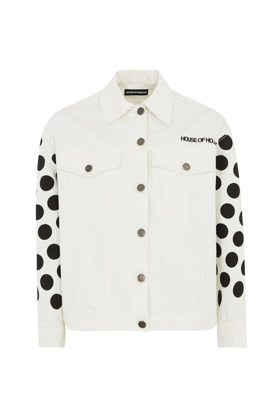 White Black Spot Denim Jacket