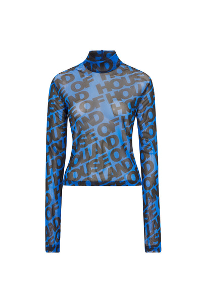 Printed 'House of Holland' Long Sleeve Mesh Top (Blue)