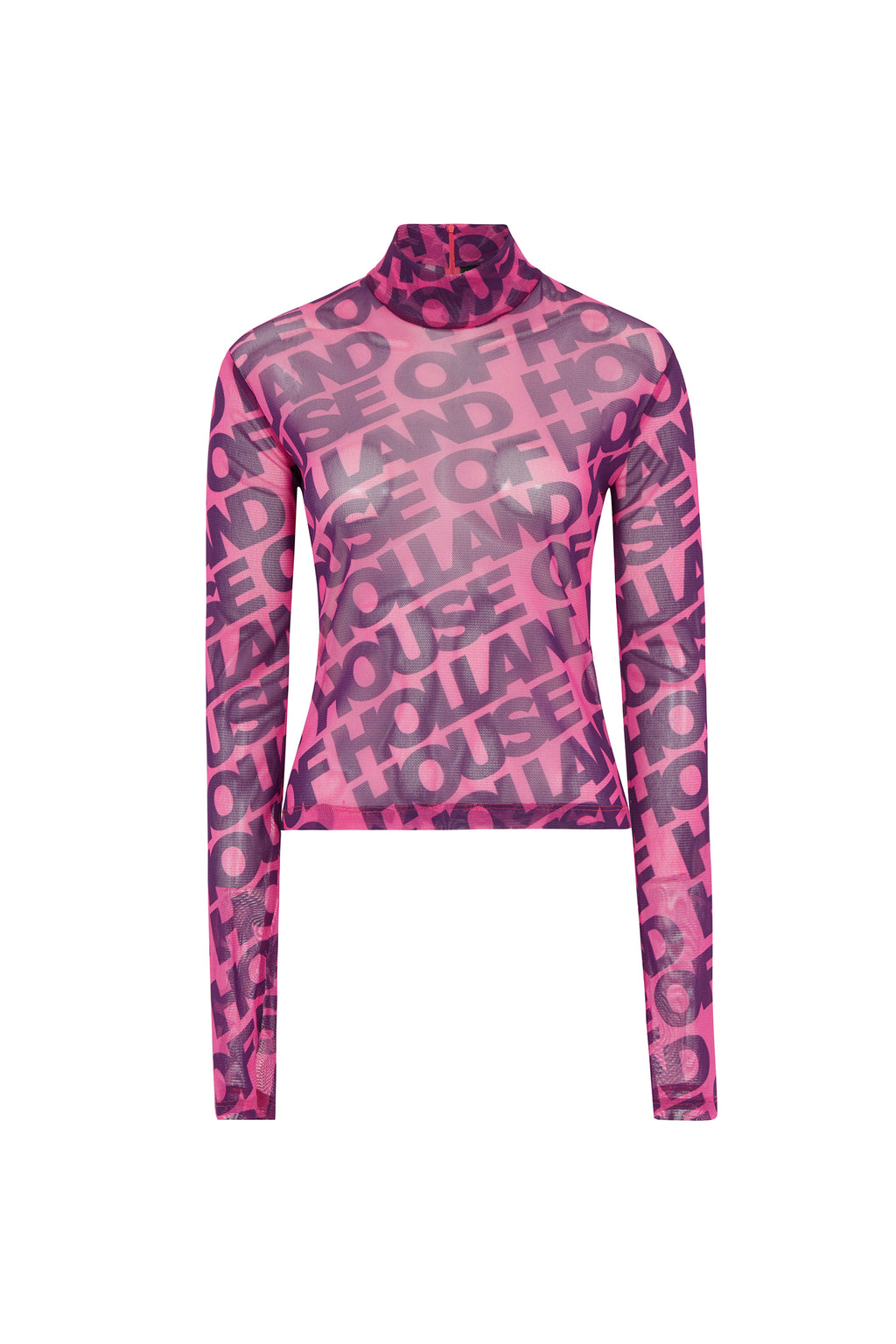 Printed 'House of Holland' Long Sleeve Mesh Top (Vivid Pink) by House of Holland