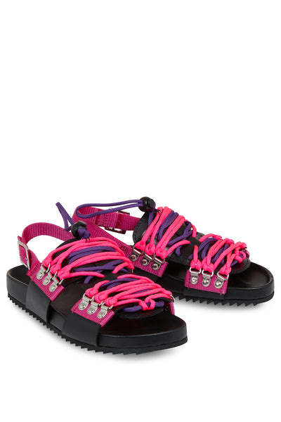 'Wiley' Leather Sandal (Black & Pink)