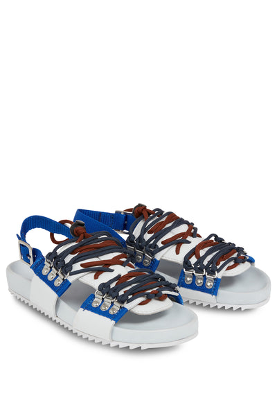 'Willa' Leather Sandal (White and Blue)