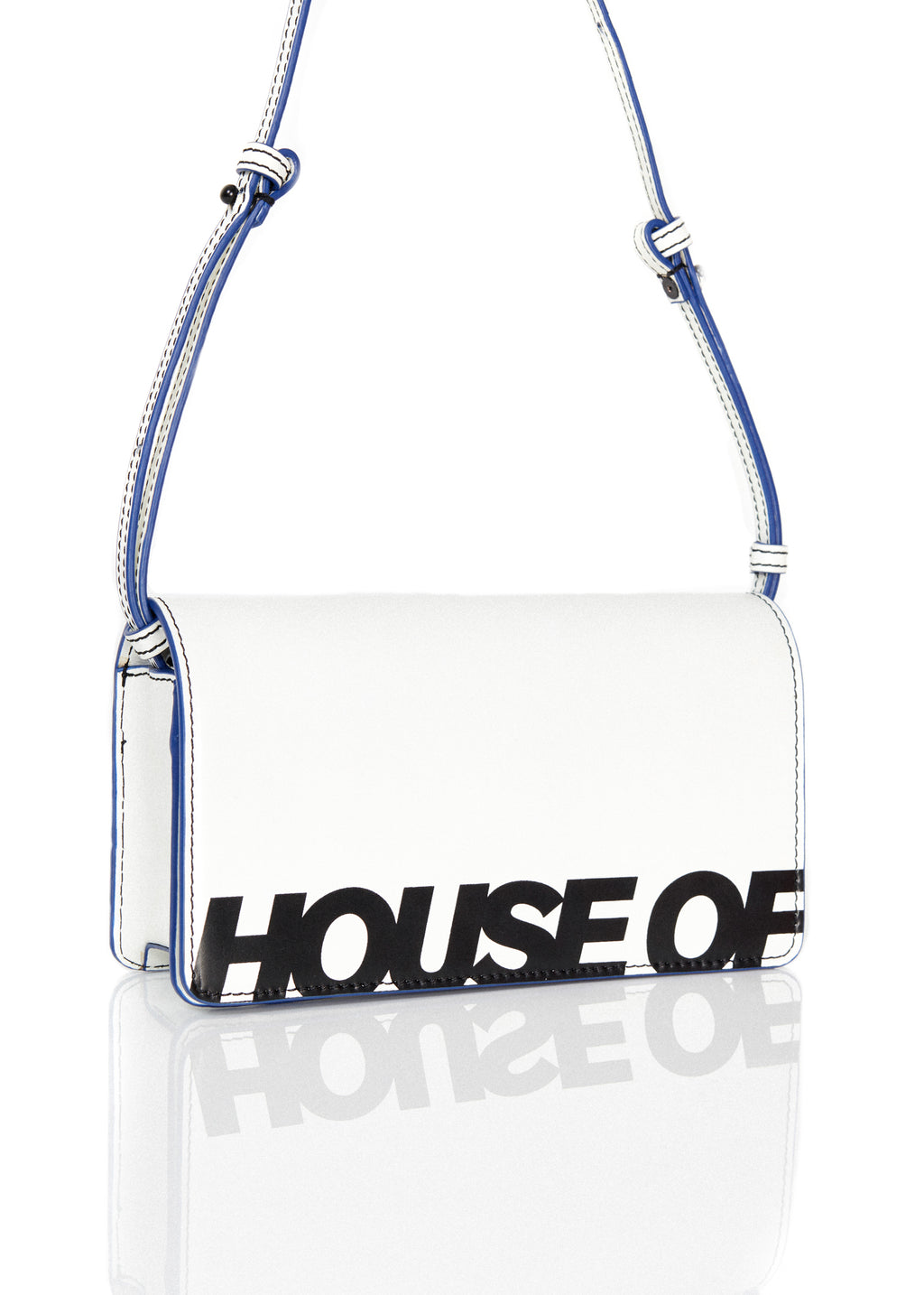 Cross Body Wallet Bag (White & Blue) by House of Holland