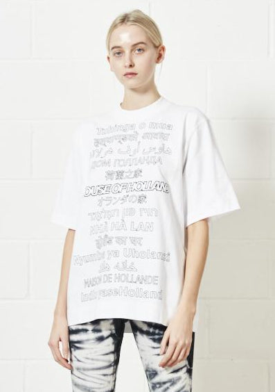 White Multi-Lingual Oversized Tee