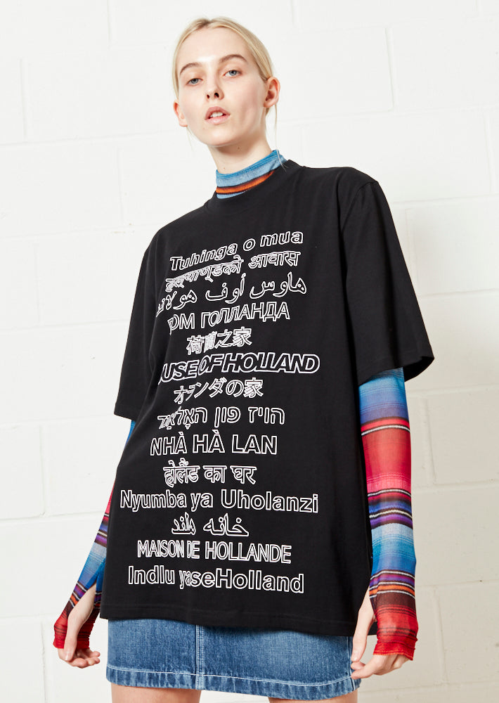 Black Multi-Lingual Oversized Tee