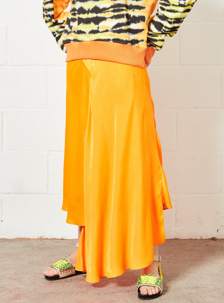 Asymmetric Orange Midi Skirt